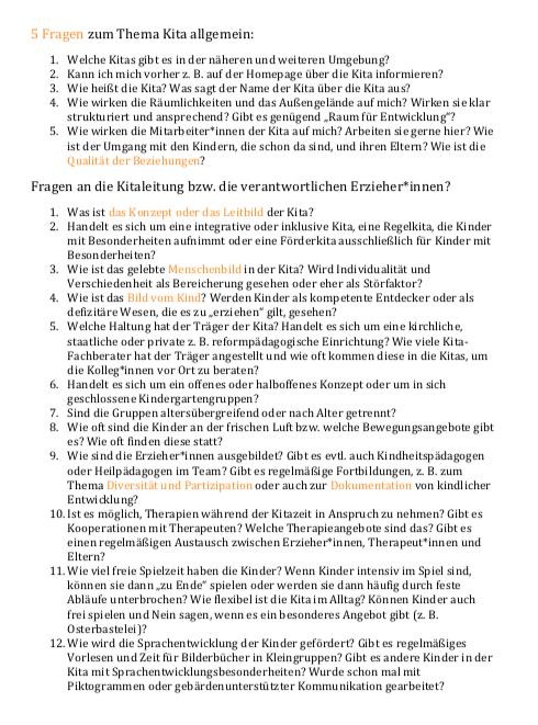 Screenshot der Checkliste zur Kita-Auswahl